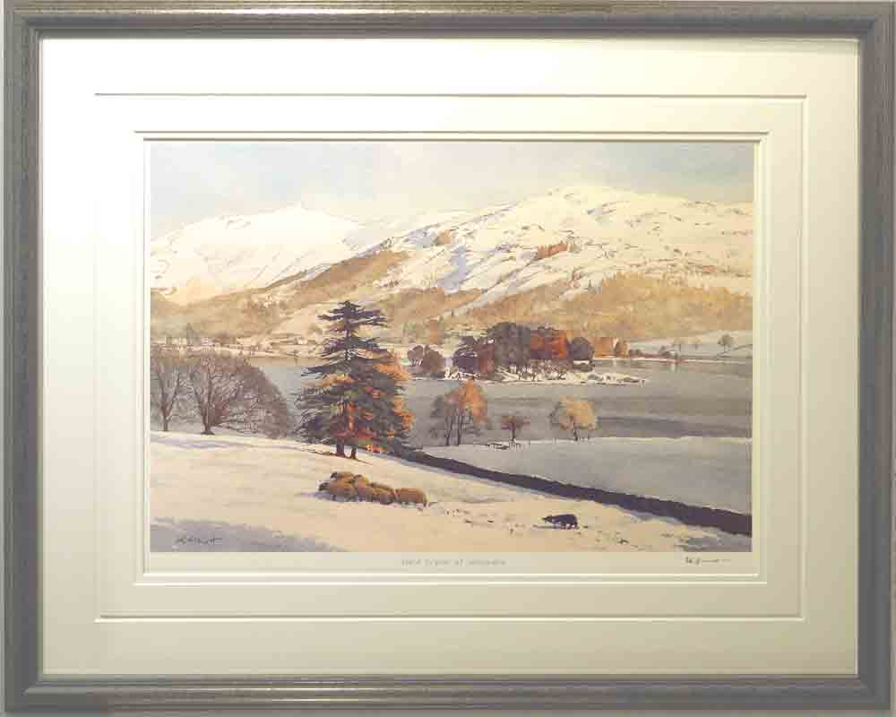 Hard winter at Grasmere signed print by David Elliott